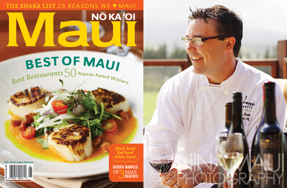 Nina Maui Photography Cover Chef Ryan Luckey Latest Cover for Maui No Ka Oi Magazine